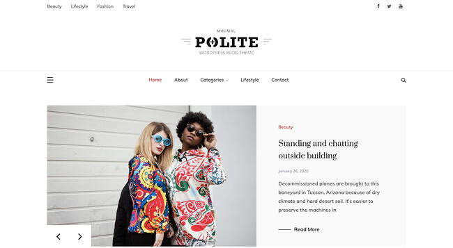 Default demo of best content sharing WordPress theme Polite features image slider and sidebar