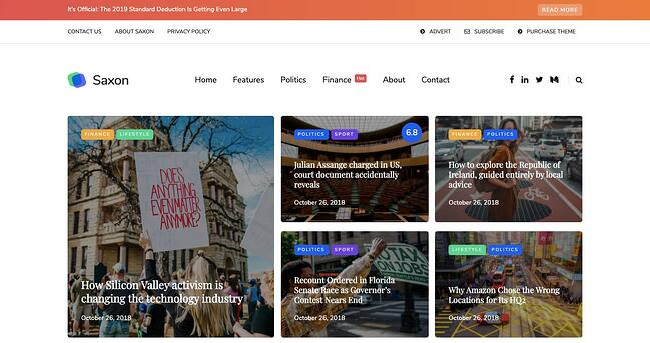 Default demo of best content sharing WordPress theme Saxon features blog grid