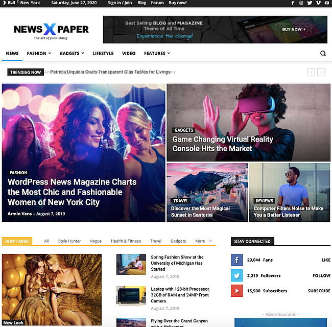 Default demo of fast WordPress theme Newspaper Pro