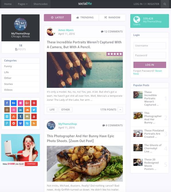 Default demo of fast WordPress theme SocialMe