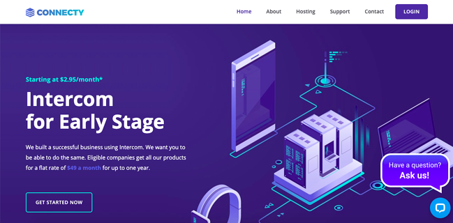 Default demo of web hosting WordPress theme Connecty