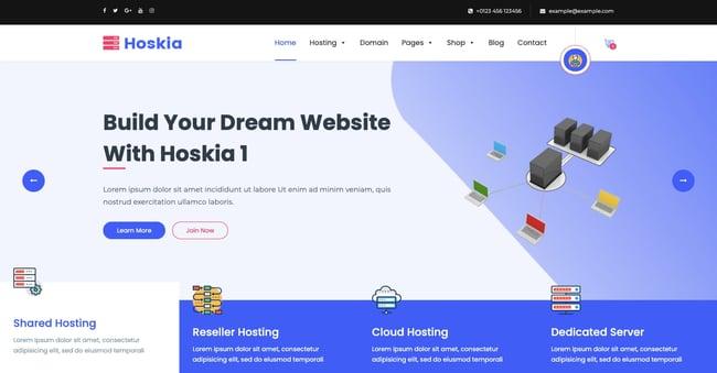 Default demo of web hosting WordPress theme Hoskia