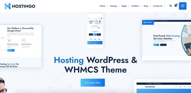 Default demo of web hosting WordPress theme Hostingo