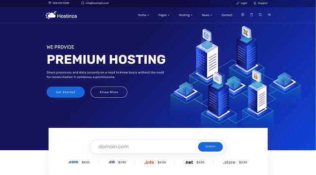 Default demo of web hosting WordPress theme Hostinza includes search box for domain names