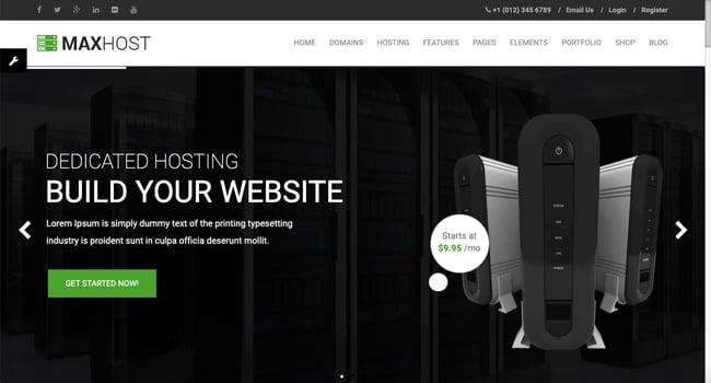 Default demo of web hosting WordPress theme MaxHost