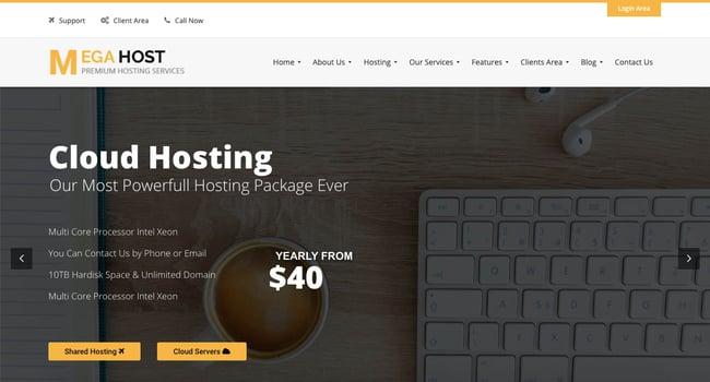 Default demo of web hosting WordPress theme MegaHost
