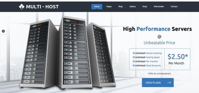 Default demo of web hosting WordPress theme Multi Host
