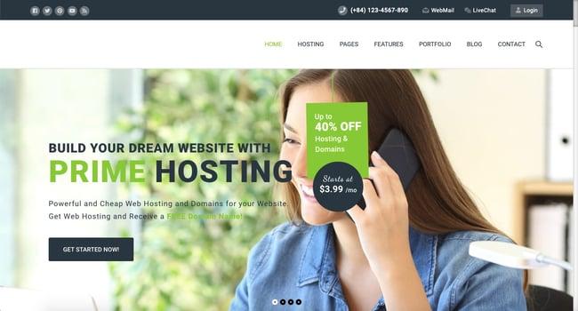 Default demo of web hosting WordPress theme Prime Hosting