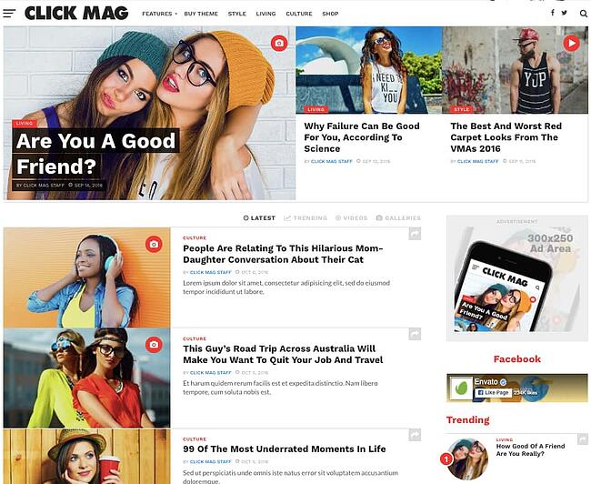 Demo of best content sharing WordPress theme Click Mag features blog list and ad widgets