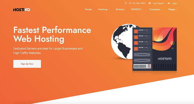 Demo of web hosting WordPress theme Hostiko with orange background color