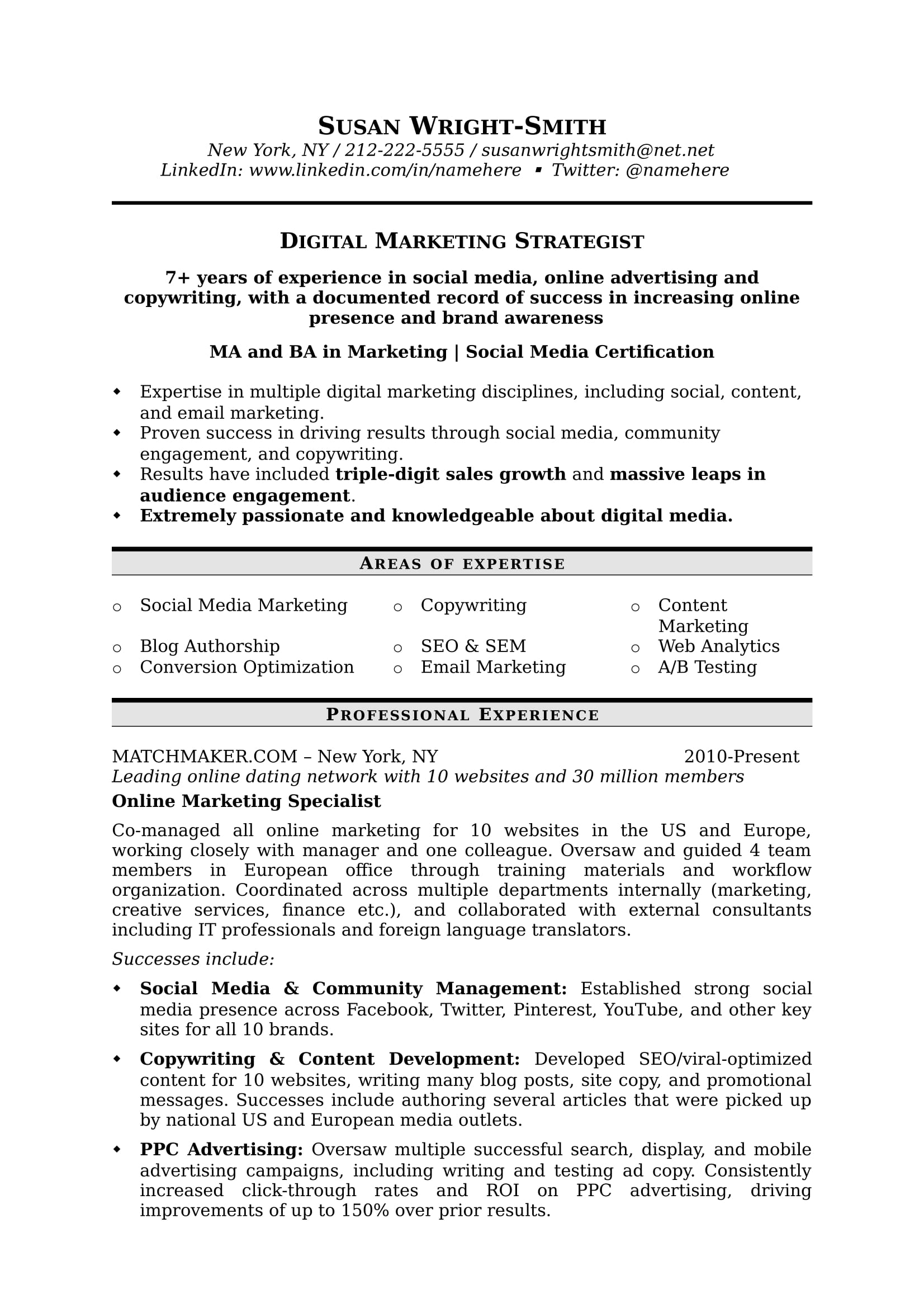 Digital_Strat 1  Areas Of Expertise On A Resume
