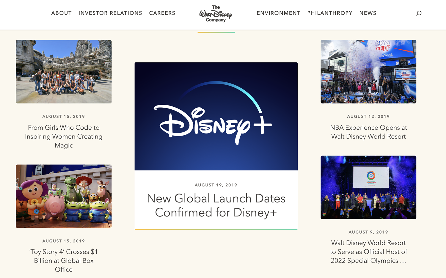 WordPress website example from Disney