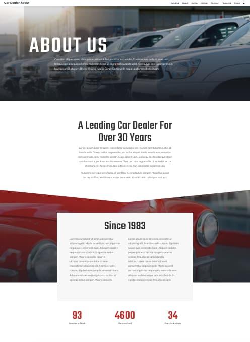 Divi car dealer about page demo