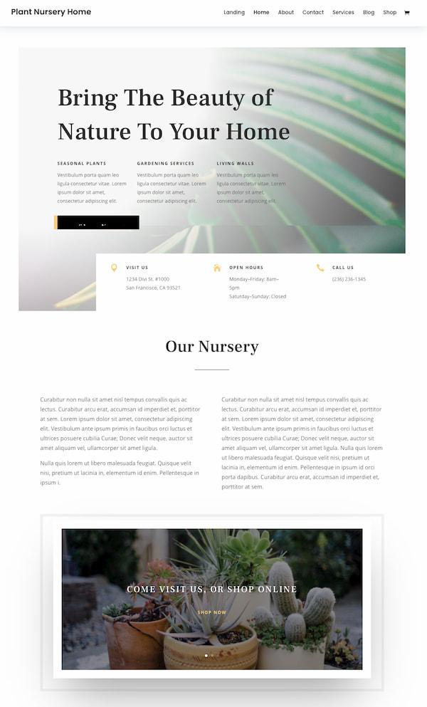 Divi themes Plant Nursery homepage demo