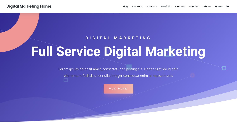 Divi theme to create a static website using WordPress