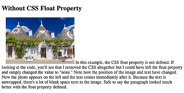 image in paragraph without css float property