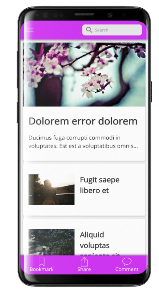 A mobile display of a site built with WPMobile.App plugin