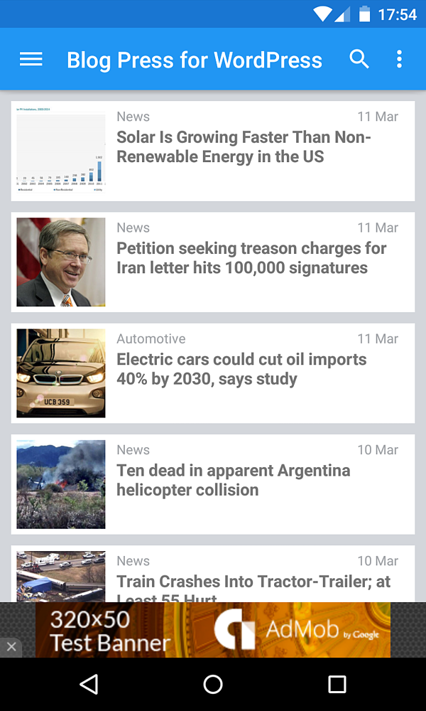 The home screen of a mobile news site built by the BlogPress plugin