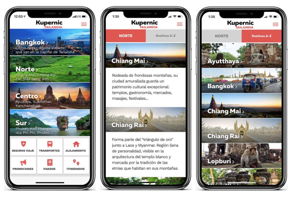 Three mobile displays of travel sites built with android app plugins