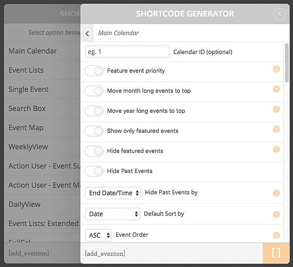 Use the EventOn's shortcode generator to insert calendar content into your WordPress posts and pages