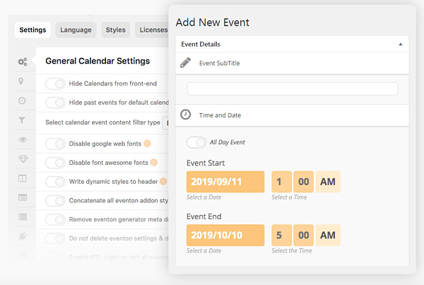 Use the EventON's appearance editor to easily and quickly customize the look of your calendar