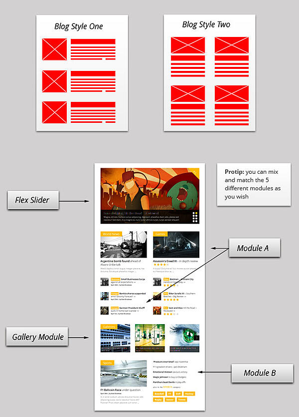 Gonzo's flexible layouts with flex slider and modules identified