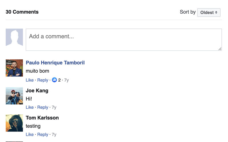 A Facebook comments section added to a site built with Gonzo theme