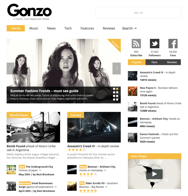 Demo homepage of Gonzo Magazine theme with user star ratings displayed