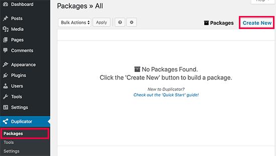Create new Duplicator package directly in WordPress dashboard