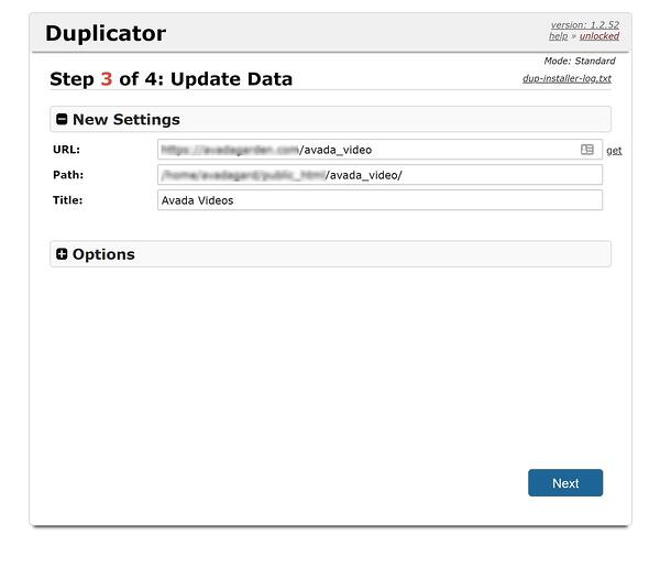 Another step in Duplicator installer wizard prompts user to verify data
