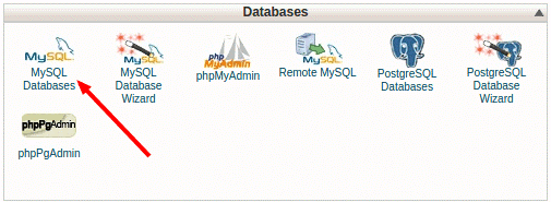 MySQL databases icon under the Databases section of a control panel