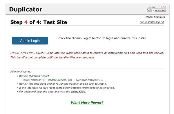 Final step of duplicator installer wizard prompts user to login to WordPress dashboard