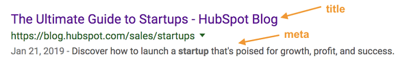 The title and meta description labelled in a featured snippet for a HubSpot blog
