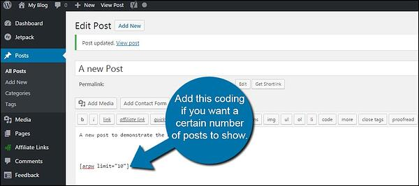 User adding code to Advanced Random Posts Widget plugin's shortcode to control number of posts in display
