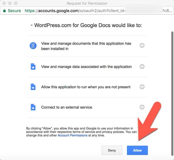 Click allow to give the WordPress.com add-on permission to access your documents in Google Drive