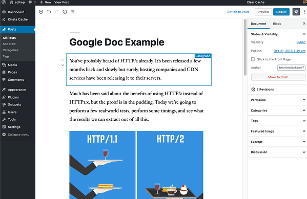 Importing posts from Google Docs to the Gutenberg Editor in WordPress eliminates many of the formatting issues