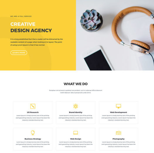 Demo landing page from Divi's design agency layout pack