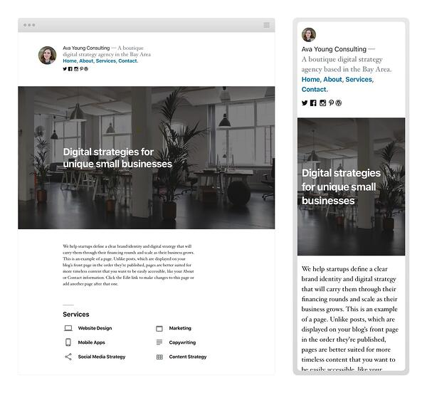 A customized homepage of the WordPress default theme for 2019