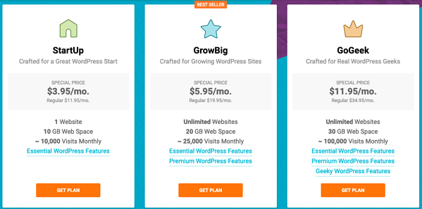SiteGround offers three hosting packages: StartUp, GrowBig, and GoGeek