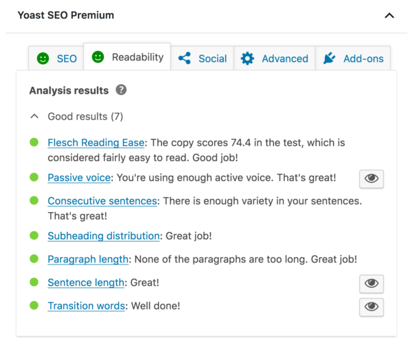 Yoast SEO's Readability Analysis feature can help you optimize your blog content