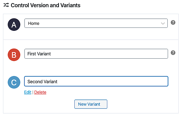 Nelio A/B plugin user creating A/B test with one control version and two variants