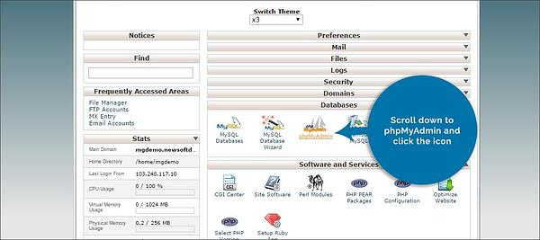 the phpMyAdmin icon is under the Databases section in your hosting account's cPanel