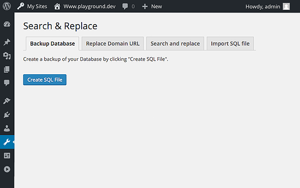 In the Search & Replace plugin settings, you can click the Create SQL File button