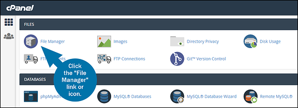 The File Manager icon is under the Files Section of your hosting account's cPanel