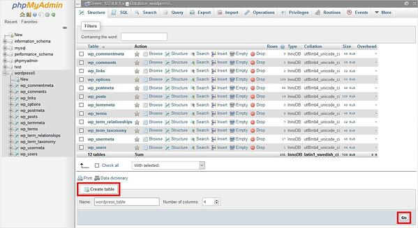 Display of tables in the Structure tab of a phpMyAdmin database
