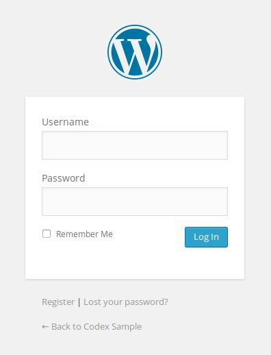 Default login form on WordPress site