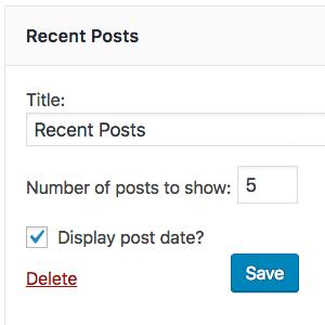 The settings of WordPress's built-in recent posts widget