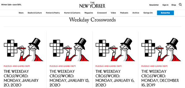 The Crosswords category page on The New Yorker website