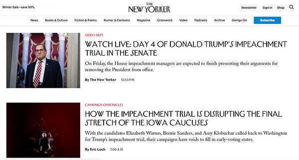 News category page on The New Yorker website