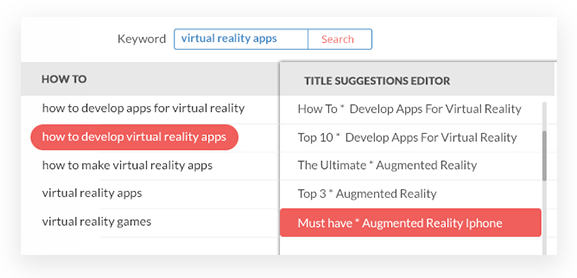 """KeywordXP's auto-generated title suggestions for keyword phrase """"virtual reality apps"""""""